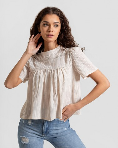 Блуза з вишитими смужками від FASHIONISTA світло-бежевий