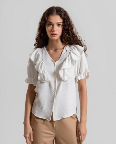 Блуза з рюшами від FASHIONISTA білий