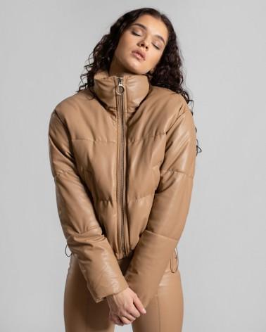 Куртка оверсайз з штучної шкіри від FASHIONISTA пісочний